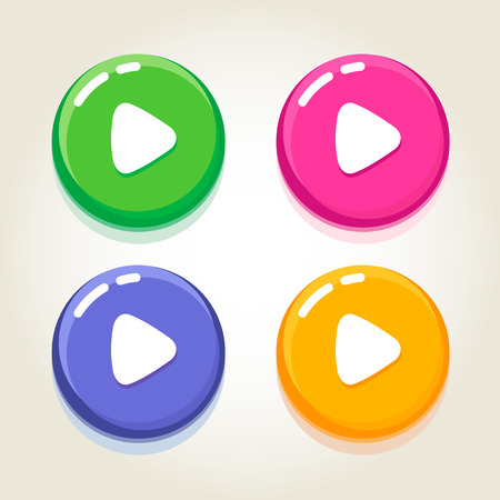 music buttons: The set of play music buttons different colored with the glossy effect. Fully editable vector illustration. Perfect for web, signs, posters.