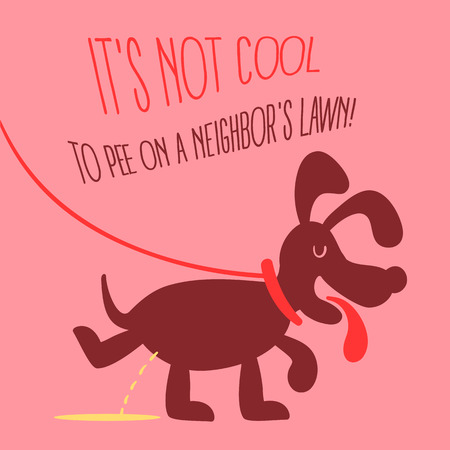 urination: The dog peeing illustration in retro style on a pink background. Fully editable vector illustration. Perfect suit for informational plates, pet regrets, cards.