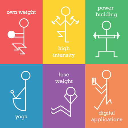 Set of line icons illustrated new fitness trends. Fully editable vector illustration. Perfect use in sport illustration, cards, stickers, posters.
