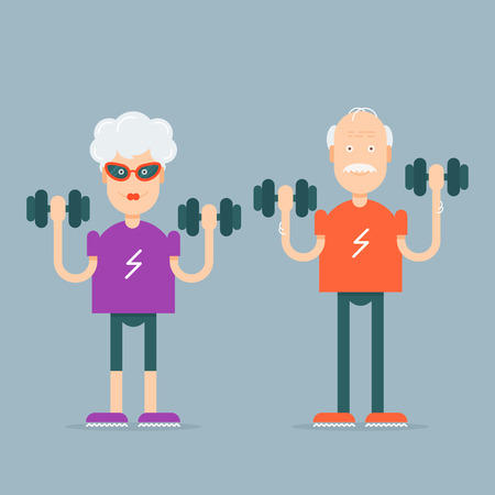 grandpa and grandma: In vogue modern grandparents with the dumbbells in their hands doing fitness exercises. Fully editable vector illustration. Perfect use for informational cards, posters, flayers.