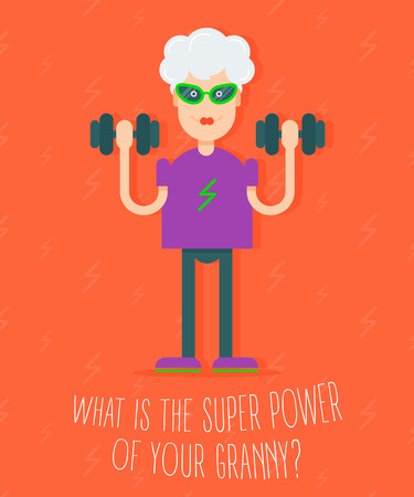 informational: In vogue modern grandmother with the dumbbells in her hands doing fitness exercises. Fully editable vector illustration. Perfect use for informational cards, posters, flayers.