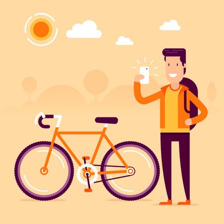 Bikeman in de voorkant van de moderne fiets maken selfie en het delen van zijn geweldige sport resultaten op sociale netwerken. Volledig bewerkbare vector illustratie. Perfect voor kaarten, foto's, Flayers. Stock Illustratie