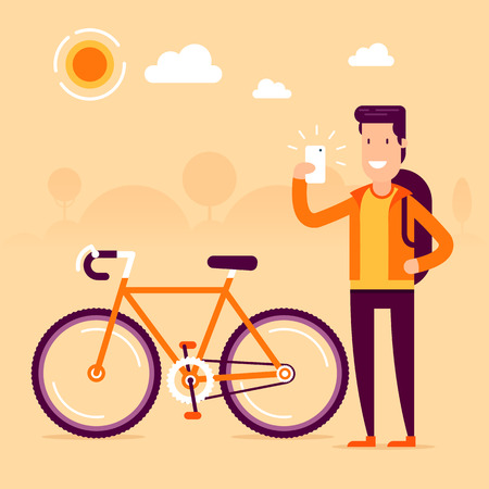 results: Bikeman in front of modern bike making selfie and sharing his awesome sport results by social networks. Fully editable vector illustration. Perfect for cards, pictures, flayers.