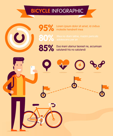 cycling: Cycling infographic with location, heart bit, speed and destinations signs. Fully editable  illustration. Perfect for camping info, social network advertising, posters and flayers.