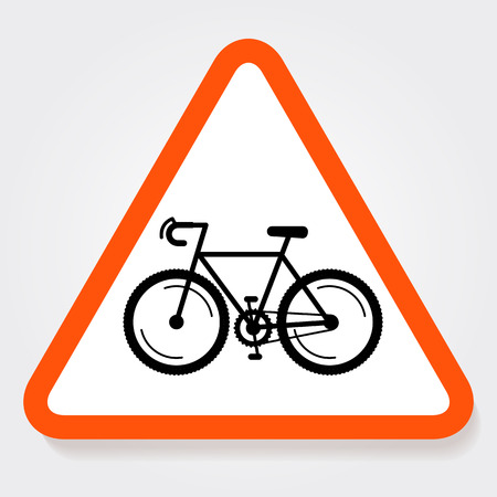 forbidden city: Bicycle triangle forbidden sign plate. Fully editable illustration. Perfect for road sign restriction, informational signs.