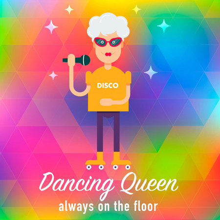informational: In vogue modern grandmother on the roller skate signing karaoke at the disco. Fully editable  illustration. Perfect use for informational cards, posters, flayers. Illustration