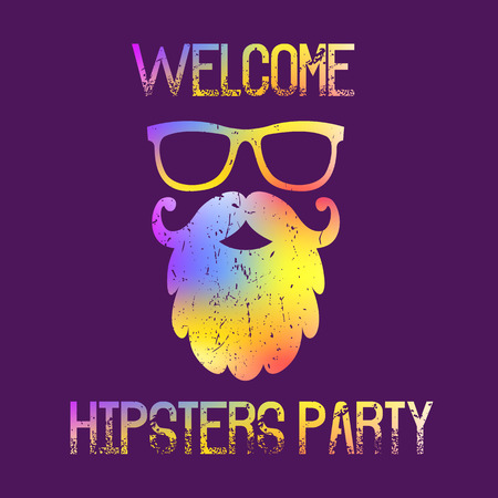 flayers: Invitation card with the modern hipster silhouette with a great beard and glasses.  Fully editable  illustration. Ideal suits for t-shirt print, info plates, cards, flayers.