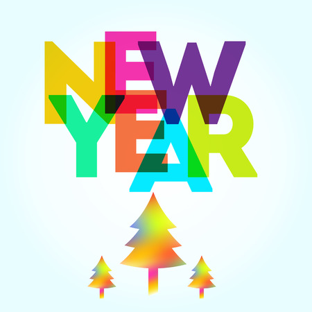 big letters: New Year card with the different colored big letters and new year trees on the bottom. Fully editable illustration perfect for new year and christmas greeting cards. Illustration