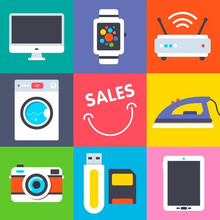 wash machine: Set of flat retail icons contains wash machine, watch, router and other retail stuff each on the separate colored backround. Fully editable vector illustration. Perfect for retail advertisement.
