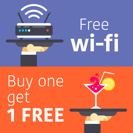 hands free device: Two informational service tables with offer of free wifi and second coctail free, separated on different backgrounds. Fully editable vector illustration. Perfect for restaurant and hotel industry.
