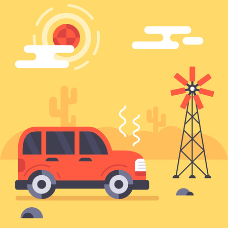 Car stucks in the mexican desert because of engine demage or crash. Fully editable vector illustration. Perfect for informational plates, posters, flayers.