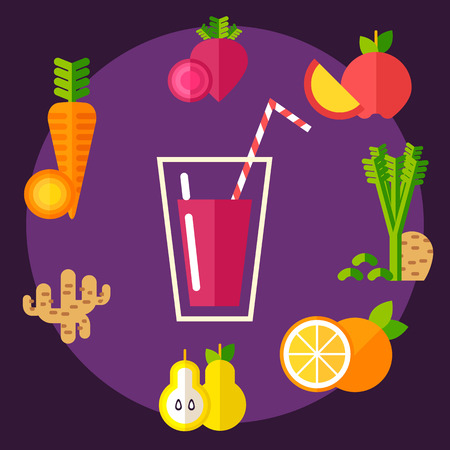 Set of organic food round the glass with healthy vitamin smoothie. Fully editable vector illustration. Perfect for detox programm illustrations.