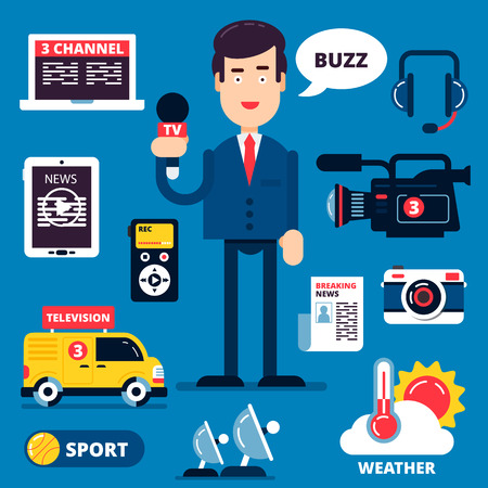 news papers: Set of breaking news icons including reporter with microphone speeches news in front of camera. Fully editable vector illustration. Color vector flat illustration and icons.