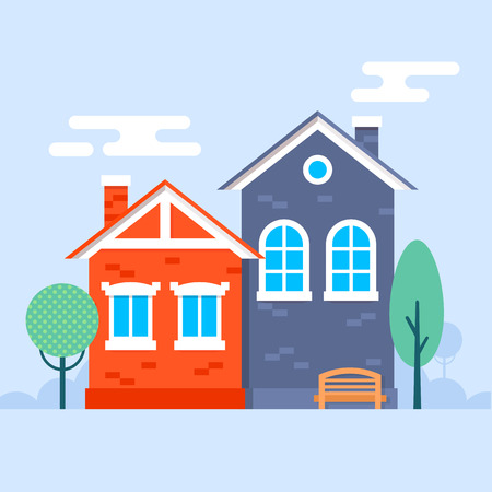 prospects: Illustration of sweet little houses in a holland style with the trees and bench on the garden. Fully editable vector illustration. Perfect for informational prospects, flayers and posters.