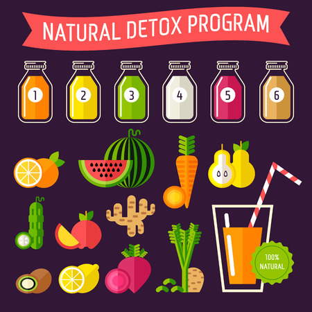 rennovation: Set of organic food with different detox programm represented in special bottles. Fully editable vector illustration. Perfect for detox programm illustrations.