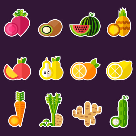 Set of organic food Set of organic food represented vegan food not heated and cooked. Fully editable vector illustration. Perfect for detox programm illustrations.