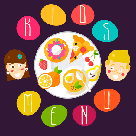 Funny kids menu template with healthy food, tasty desserts and ripe fruits on a big plate. Fully editable vector illustration. Perfect for restaurant illustrations  イラスト・ベクター素材