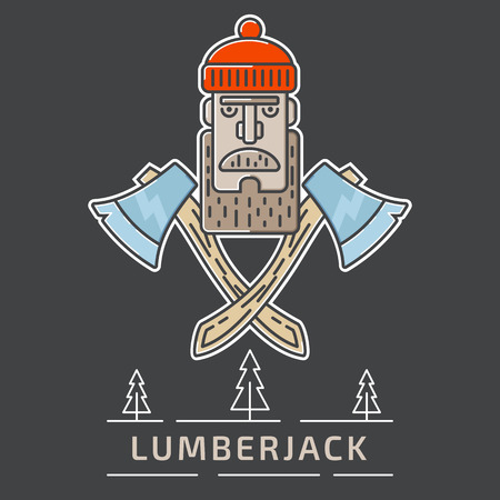 Lumberjack icon illustration with the lamber head and axes in the center and hipster text with trees in the bottom. Fully editable vector illustration. Perfect for last trend icons