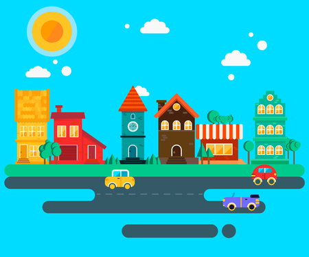chapel: Small quiet town street illustration: stone chapel, houses with the tiles, trees, road, well, cars. Vector flat illustrations