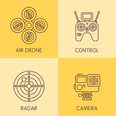performed: Set of air drone equipment performed in a last trends of illustration  in a lines icons.  Illustration