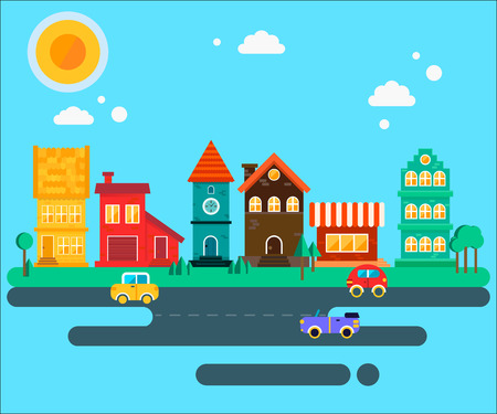 quiet: The quiet calm small towm street with different kind of colorful houses. Fully vector illustration. Illustration