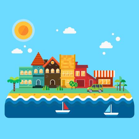 pez vela: Pequeño ilustración tranquila costa: casas con la azulejos, árboles, palmas, carretera, mar costa, coche y pez vela. Vector ilustraciones planas
