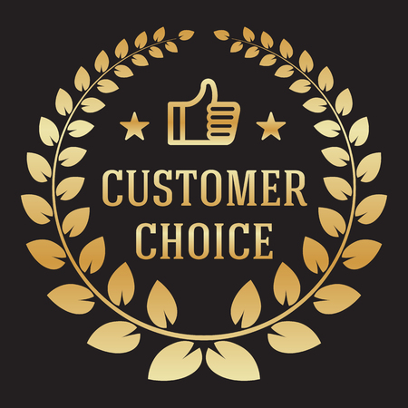 golden color: Isolated wreath logo of best customer choice in golden color on the black background. Fully editable illustration. Perfect for awards, prizes illustration.