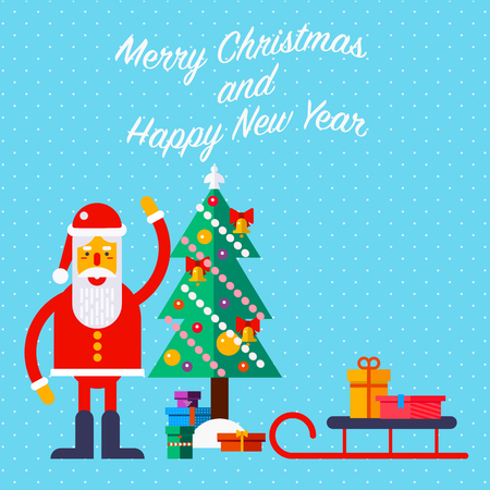 New Year and Christmas greeting card with Santa and presents. Fully editable vector illustration. Perfect for posters, greetings, flayers.
