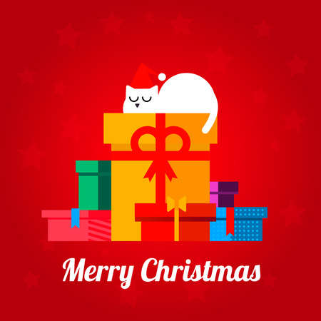 new year cat: Merry Christmas post card with the different present boxes and slipping cat on a star designed red background. Fully editable vector illustration. Perfect for new year greetings.