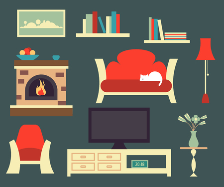 fireplace: Retro living room interior with classical objects lamp, chair, sofa, fireplace and bookshelfs. Fully editable vector illustration.