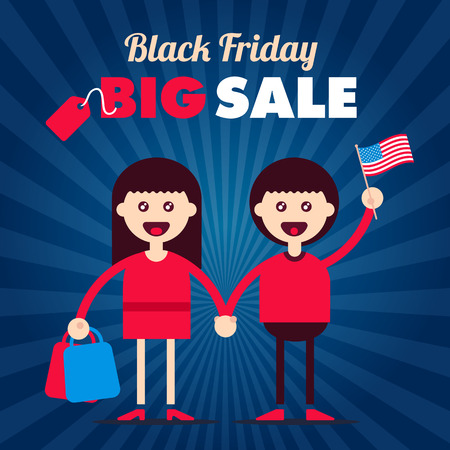 informational: Black friday sale informational plate for discount illustrations with flat styled couple characters. Fully editable vector illustration. Perfect for discounts and sales stickers.
