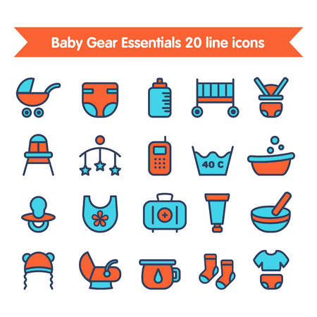 fully editable: Baby Gear Essentials 20 line colored icons set. Fully editable vector illustration.