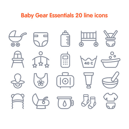 pampers: Baby Gear Essentials 20 line icons set. Fully editable vector illustration.