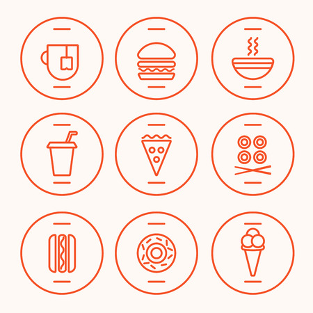 Set of Fast Food Icons performed in the last illustration trends. Hot dog, hamburger, tea, hot soup, cola, pizza, rolls, hotdog, donut, icecream symbolic icons. Fully editable vector illustration. Illustration