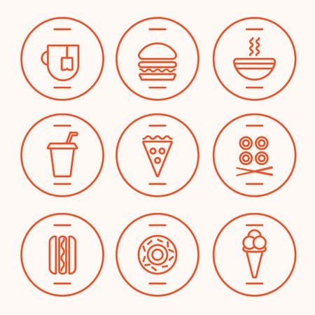 Set of Fast Food Icons performed in the last illustration trends. Hot dog, hamburger, tea, hot soup, cola, pizza, rolls, hotdog, donut, icecream symbolic icons. Fully editable vector illustration. Vettoriali