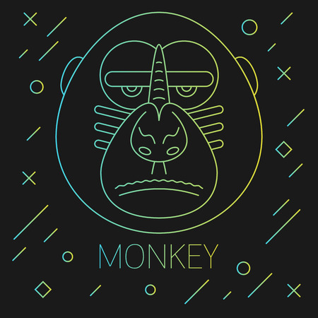 performed: The monkey head illustration performed ia a trendy lines style. Fully editable illustration. Perfect for new year greeting cards.