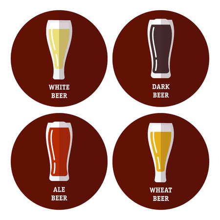ale: Flat icons set of different types of beer, lager, white, dark, ale. Fully editable vector illustration. Perfect for restaurants and pubs posters and informational stickers.
