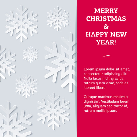 argentum: New Year card with the different snowflakes with deep shadows on an argentum background. Fully editable vector illustration perfect for new year and christmas business and family greeting cards.