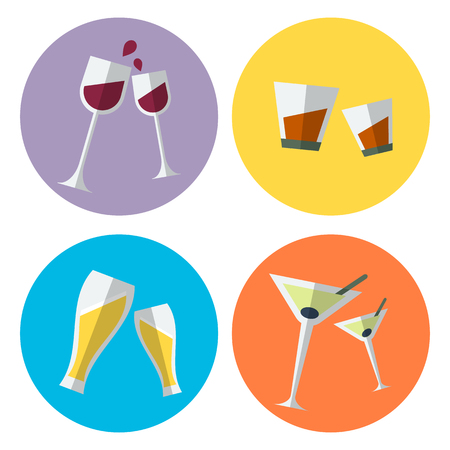 vermouth: Set of four alcohol flat icons presented in the special glassses for wine, whisky, beer and martini. Fully editable vector illustration. Perfect for parties invitations, bar stickers and over.