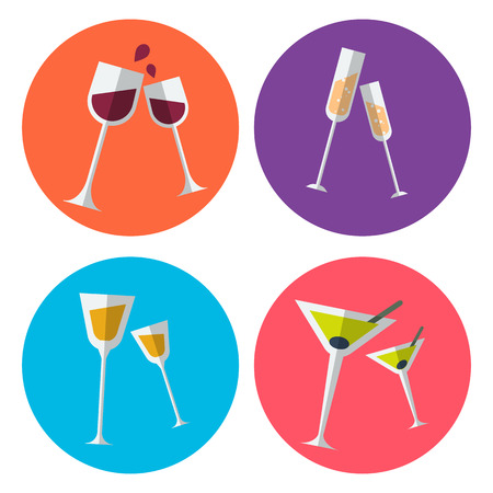 joyfull: Set of four alcohol flat icons presented in the special glassses for wine, champagne, liquor and martini. Fully editable vector illustration. Perfect for parties invitations, bar stickers and over.