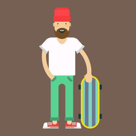 skate board: Trendy stiled hypster with the skate board on a grey background. Vector illustration and icon. Illustration