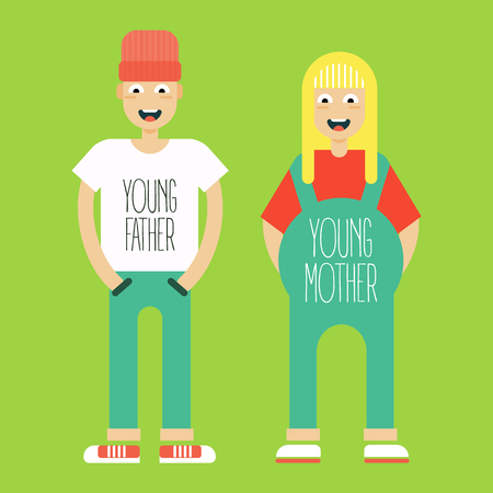 expectation: Young married couple in expectation of the child burn. Trendy styled hypster guys. Vector illustration and cartoon.