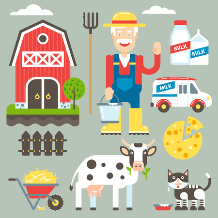rancher: Domestic farm vector kit illustration with the farm owner and his property. Vector illustration and icons.