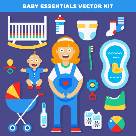 female kid: Baby gear essentials vector kit for new born parents. Vector illustration and icons.