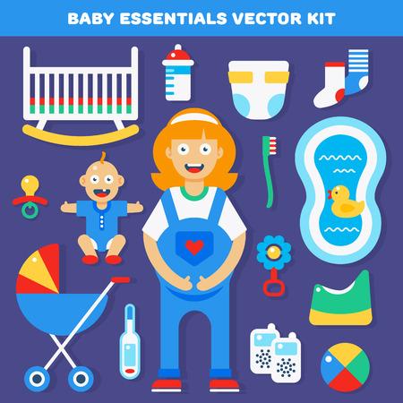 vientre femenino: Paquete esencial del engranaje del vector de bebé para los nuevos padres nacidos. ilustración vectorial y los iconos.