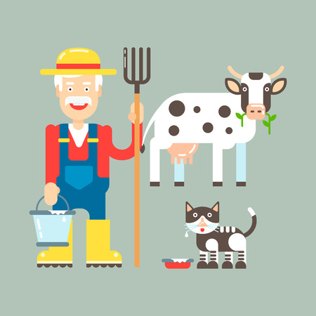 Farmer with pitchfork and cow, cat with milk illustration. Vector illustration and icons.