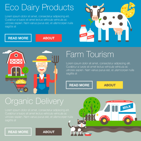rancher: Organic farm vector banners illustration with the farm owner and his property. Vector illustration and icons.