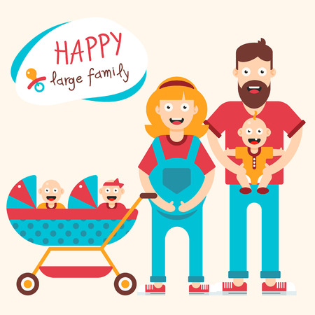 pregnant mom: Happy large family illustration with the pregnant mother, twins and son. Vector illustration. Illustration