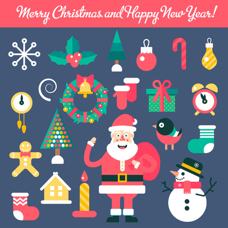 omela: Merry christmas and happy new year winter set. Fully editable vector illustrations and icons.