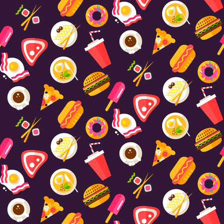 junk: Seamless pattern with healthy and junk food, pizza, burger, hot dog, steak, soup, pasta, donut, drink and coffee.